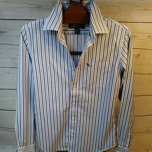 Abercrombie Blue & White Striped Button Down Sz M